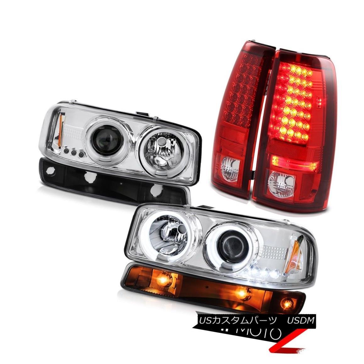 テールライト 99-02 Sierra 2500 Wine red led taillights turn signal chrome ccfl headlamps LED 99-02 Sierra 2500ワインレッドのテールランプのターンシグナルクロムccflヘッドライトLED