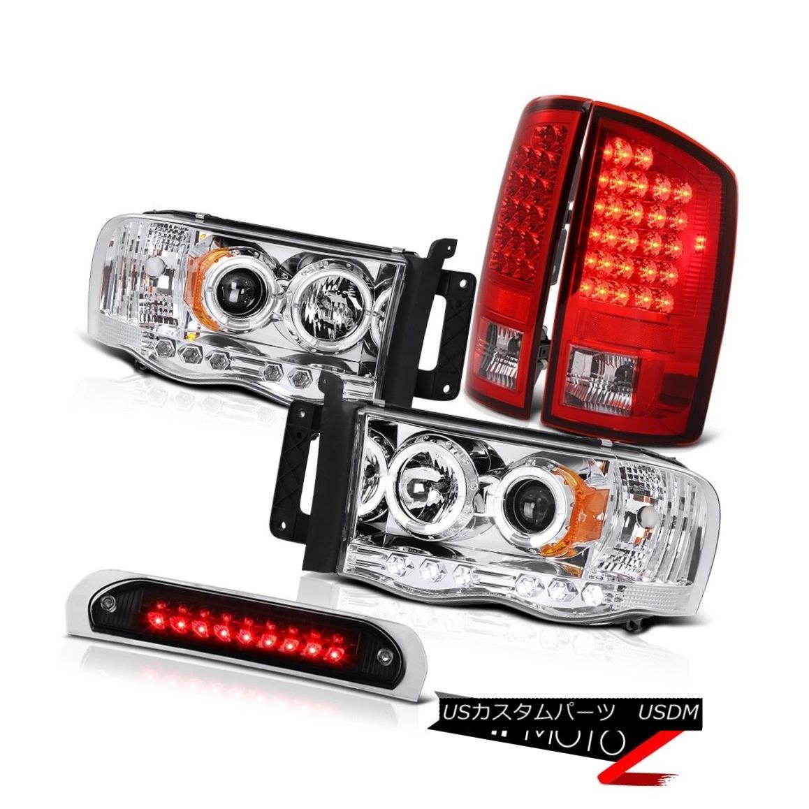 テールライト Twin Halo LED Headlamps Red Tail Lights Black Third Brake 2002-2005 Dodge Ram ツインハローLEDヘッドランプレッドテールライトブラック第3ブレーキ2002-2005ダッジラム
