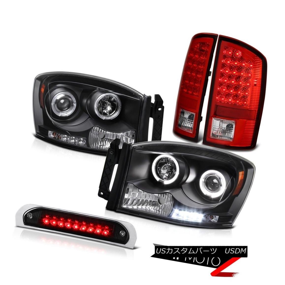 テールライト LED Dual Halo Headlights Wine Red Tail Lights 3rd Brake Roof Cargo 2006 Ram 1500 LEDデュアルヘイローヘッドライトワインレッドテールライト第3ブレーキルーフカーゴ2006ラム1500