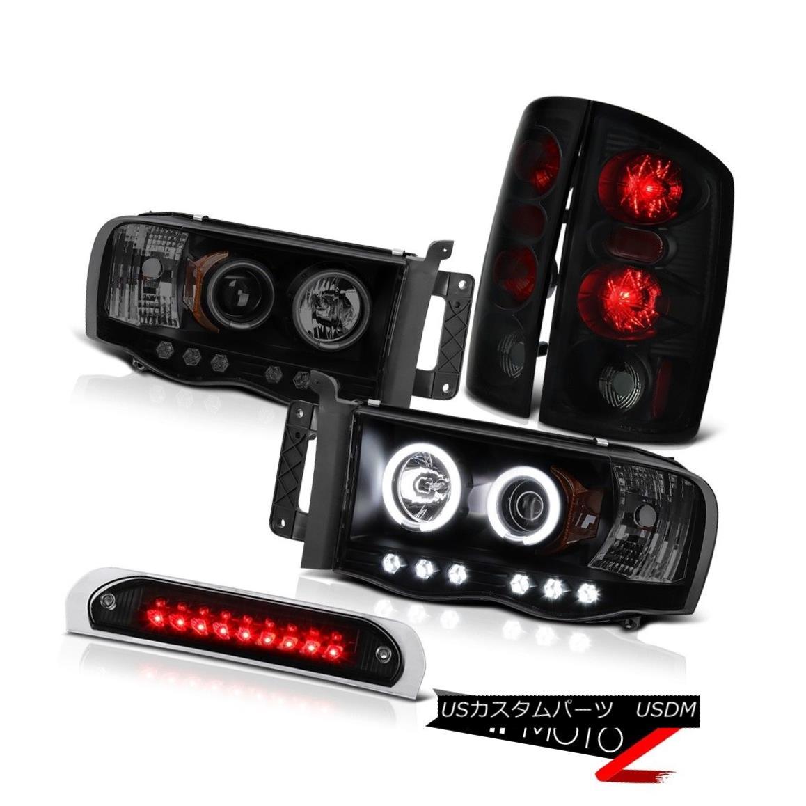 テールライト Halo CCFL Tech. Headlights Sinister Black Taillights High LED 2002-2005 Ram 3500 Halo CCFL Tech。 ヘッドライト懐疑的なブラックティールライトハイLED 2002-2005 Ram 3500