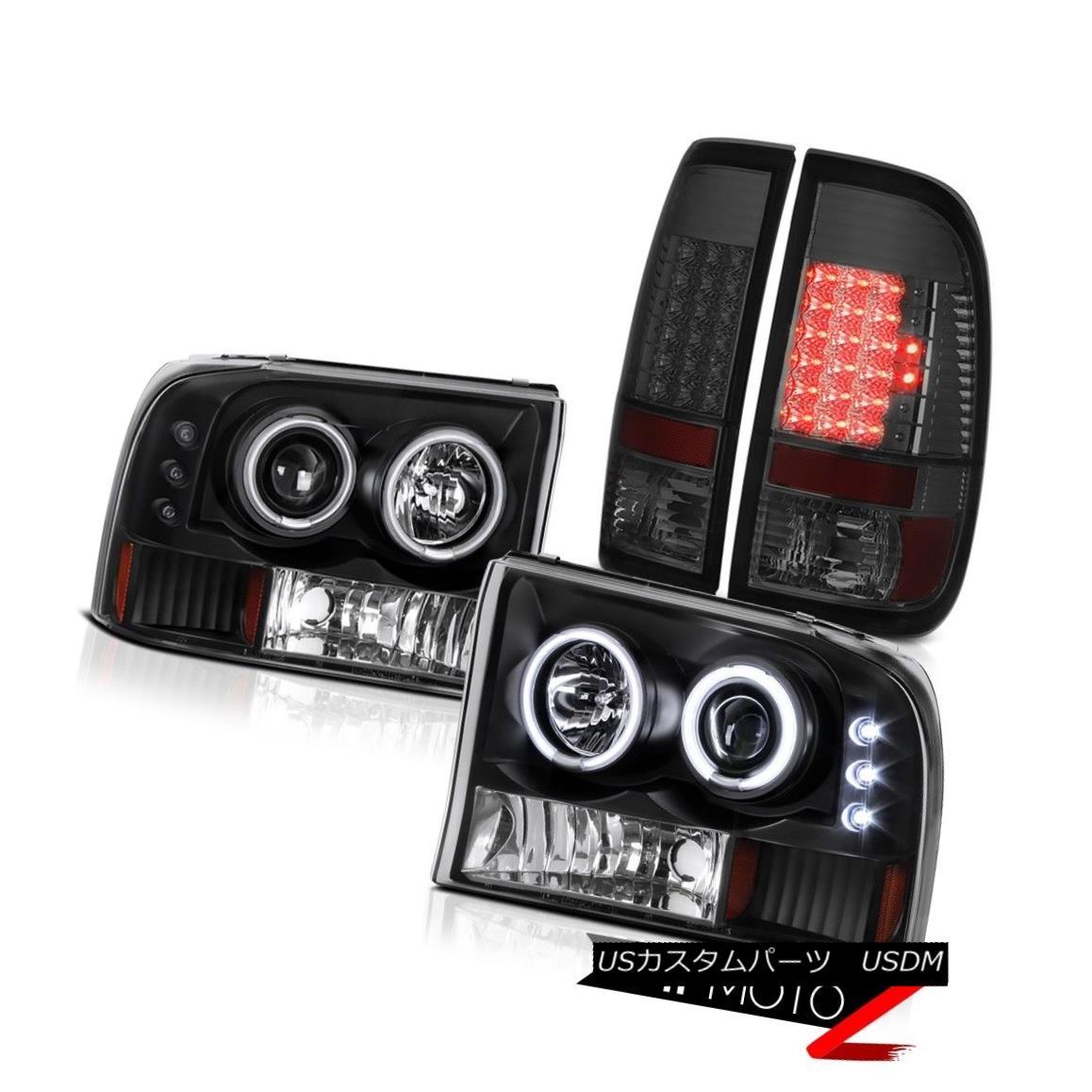テールライト Black CCFL Halo Headlights Smoke LED Tail Lamps 1999-2004 Ford F-350 King Ranch ブラックCCFLハローヘッドライト煙ランプテールランプ1999-2004フォードF-350キングランチ