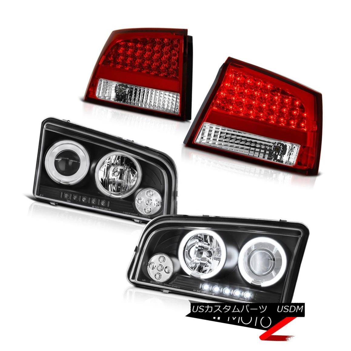 テールライト 2009 2010 Charger 3.5L CCFL Halo Ring Black Head Lamp Light Chrome LED Taillight 2009 2010チャージャー3.5L CCFLハローリングブラックヘッドランプライトクロームLEDテールライト