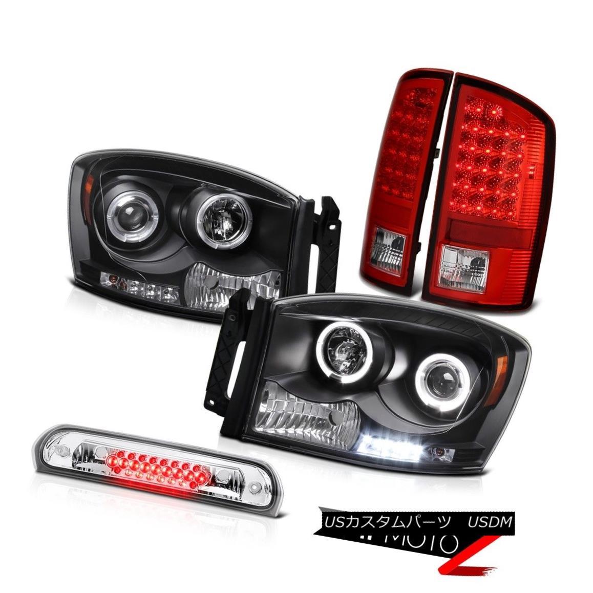 テールライト Black LED DRL Halo Headlamps LH+RH Brake Lights Chrome Cargo 2007-2008 Ram V6 ブラックLED DRL HaloヘッドランプLH + RHブレーキライトChrome Cargo 2007-2008 Ram V6