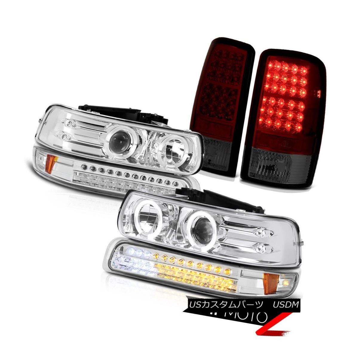 テールライト Projector Headlights Halo LED Euro Signal Smokey Red Tail Lights 00-06 Tahoe プロジェクターヘッドライトHalo LEDユーロ信号スモーキーレッドテールライト00-06タホ
