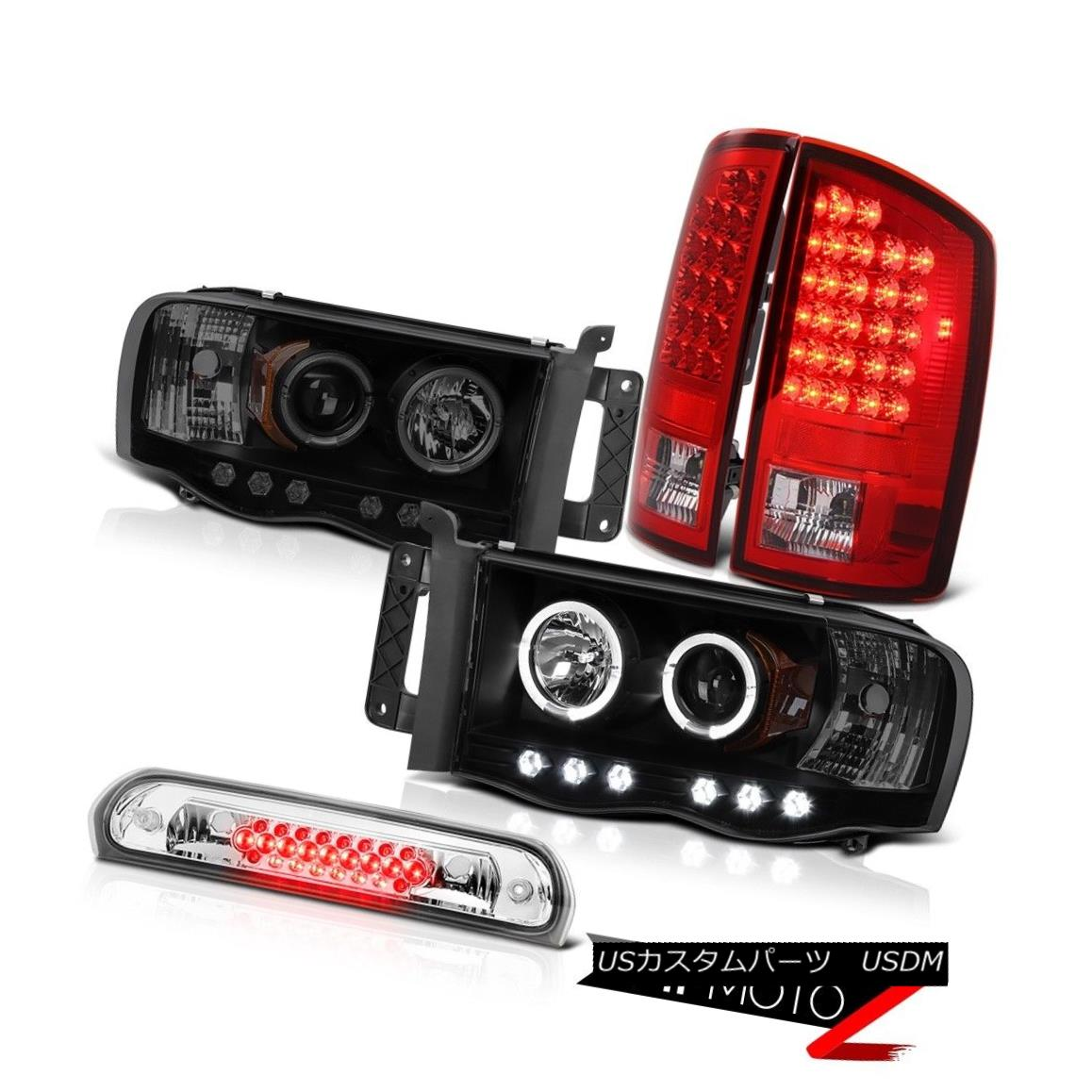 テールライト Halo LED Headlights RED Rear Tail Lights Assembly Euro Third Brake 02-05 Ram V8 Halo LEDヘッドライトREDリアテールライトアセンブリEuro 3rdブレーキ02-05 Ram V8
