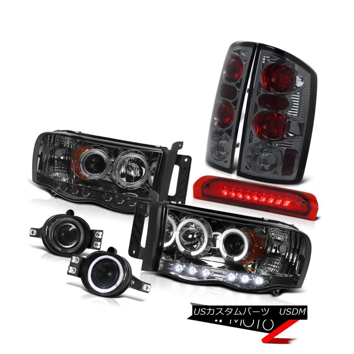 テールライト Smoke Halo Projector Headlight+LED 3rd Brake/Tail Lamp+Fog Light Dodge 02-05 RAM スモークハロープロジェクターヘッドライト+ LED第3ブレーキ/テールランプ+フォグライトドッジ02-05 RAM