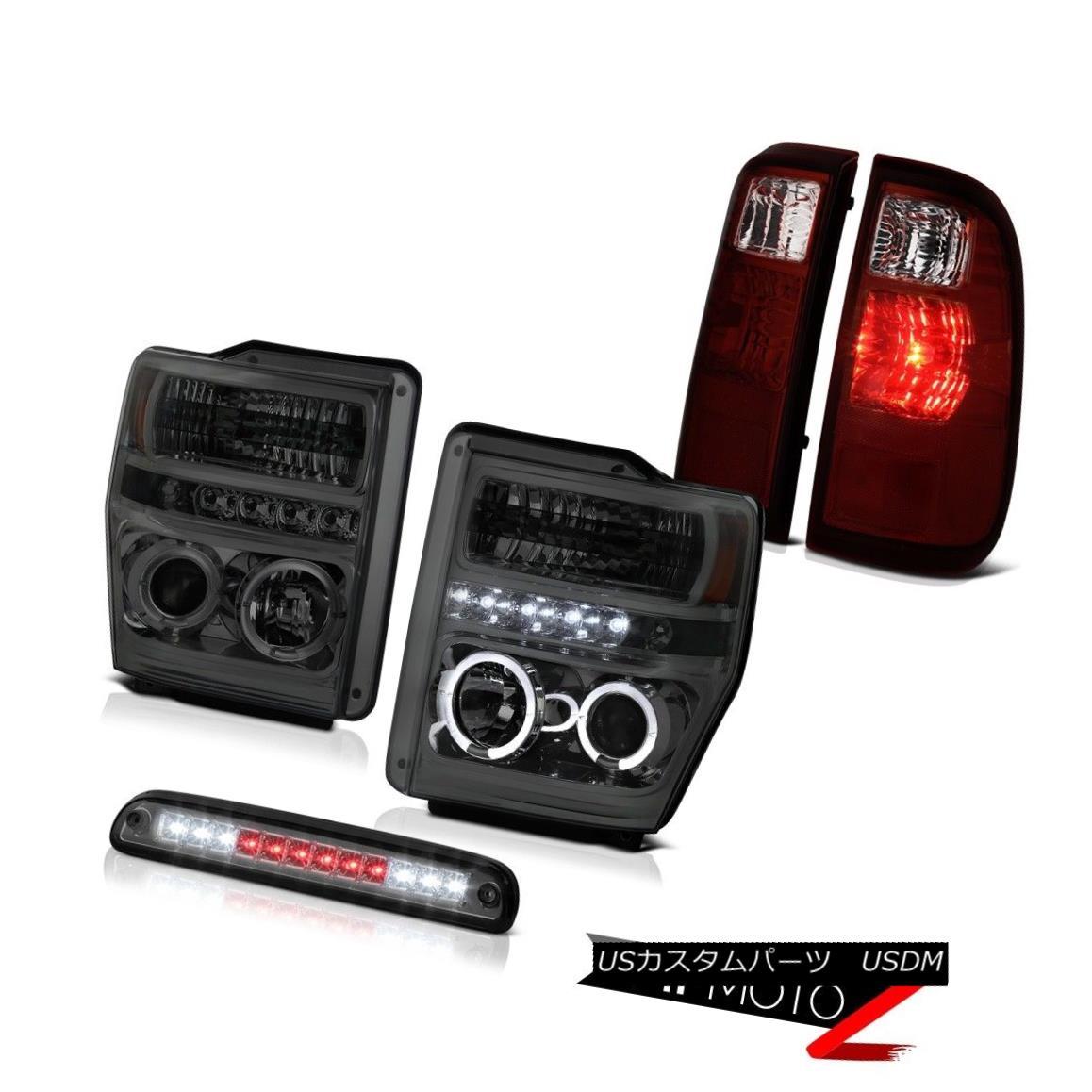 テールライト Headlights Angel Eye Roof Stop LED Tint L.E.D Rear Tail Light 08 09 10 F350 6.8L ヘッドライトエンジェルアイルーフストップLEDティントL.E.Dリアテールライト08 09 10 F350 6.8L