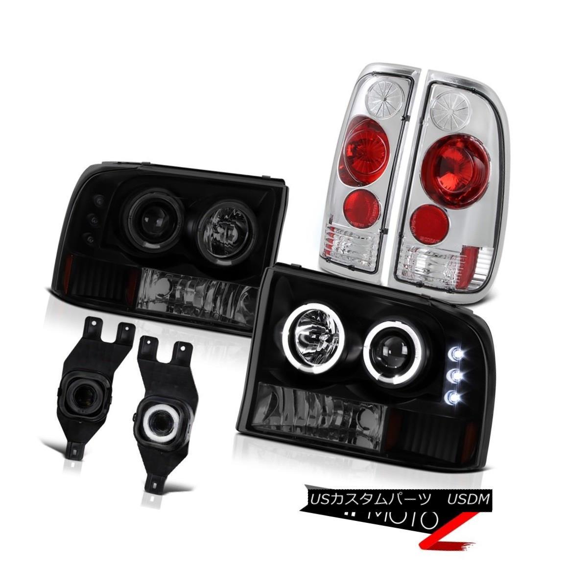 テールライト Sinister Black Headlight Halo LED Tail Lights Swith Foglamps Ford F250 F350 F450 不快な黒ヘッドライトハローLEDテールライトとフォグランプFord F250 F350 F450