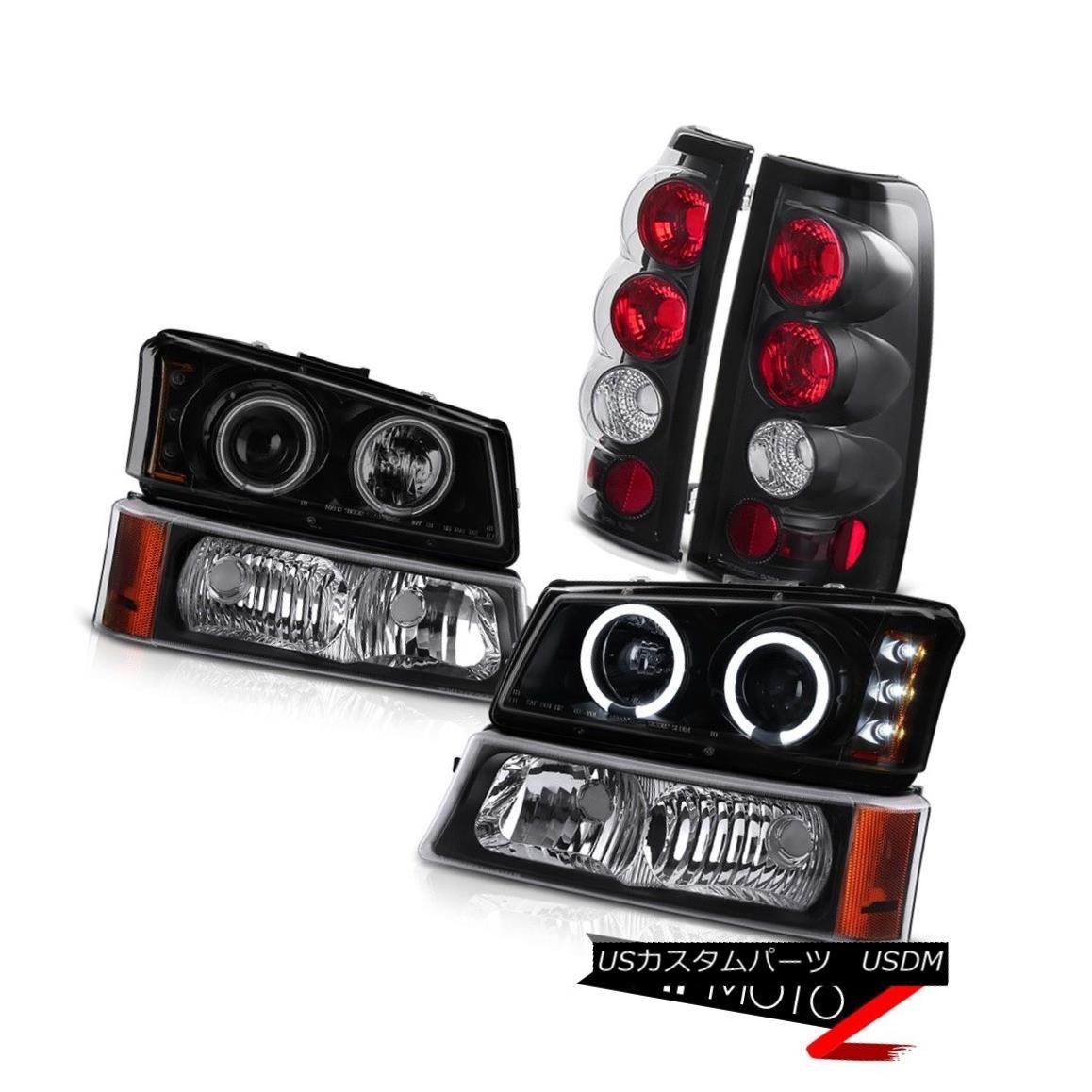 テールライト 03 04 05 06 Silverado 1500 Headlights w/CCFL Halo Signal Bumper Black Taillights 03 04 05 06 Silverado 1500ヘッドライト(CCFL付き)Halo Signal Bumper Black Tillights