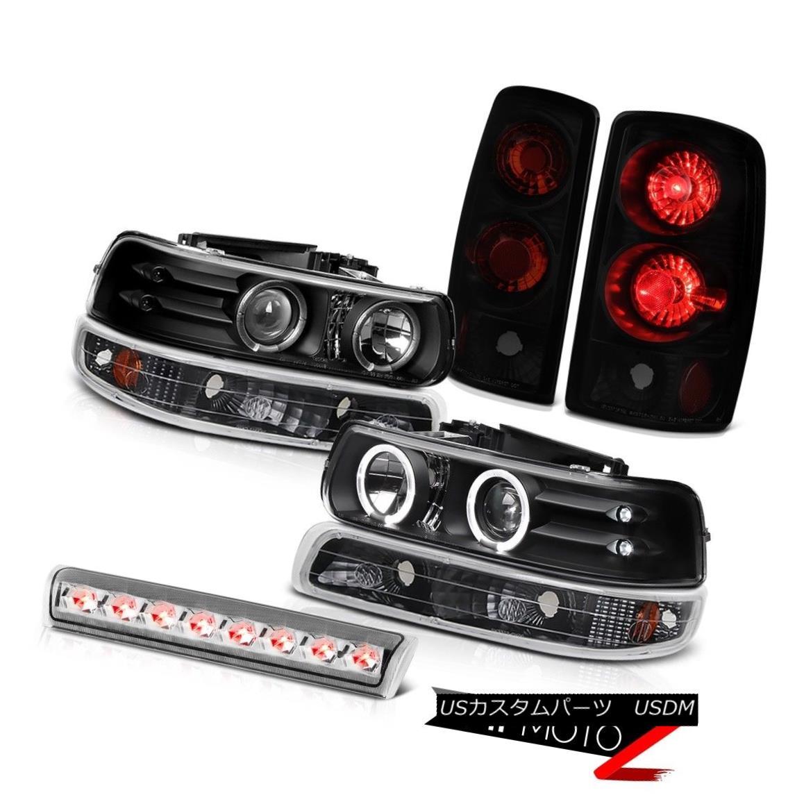 テールライト Black LED Headlamps Matte Parking Brake Tail Lamps High Cargo 00-06 Tahoe Z71 ブラックLEDヘッドランプマットパーキングブレーキテールランプハイカーゴ00-06タホZ71