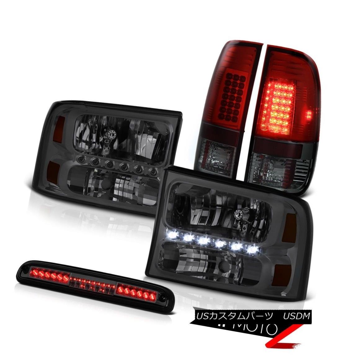 テールライト 99 00 01 02 03 04 F250 XLT Tinted Headlights Red Smoke LED Tail Light Roof Stop 99 00 01 02 03 04 F250 XLT着色ヘッドライト赤煙LEDテールライトルーフストップ
