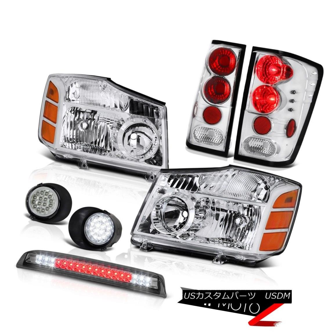 テールライト For 04-15 Titan 4X4 Chrome Headlights Tail Lights SMD Foglights Third Brake 04-15タイタン4X4クロームヘッドライトテールライトSMDフォグライト第3ブレーキ