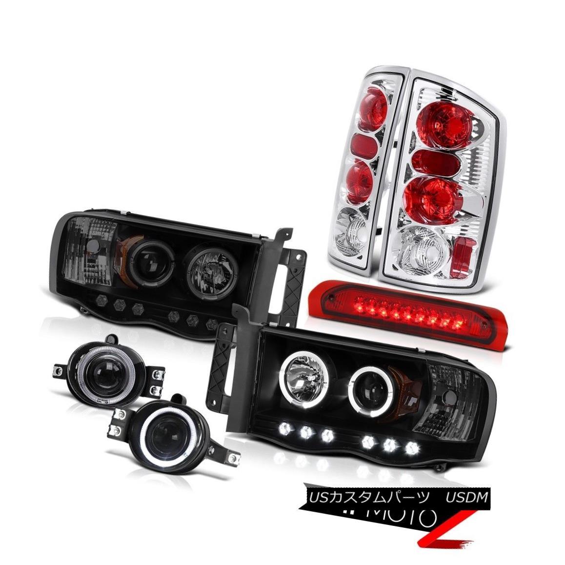テールライト Ram Hemi 5.7L ST Angel Eye Headlights LED Red Clear Tail Fog Third Brake Lights Ram Hemi 5.7L STエンジェルアイヘッドライトLEDレッドクリアテールフォグ第3ブレーキライト