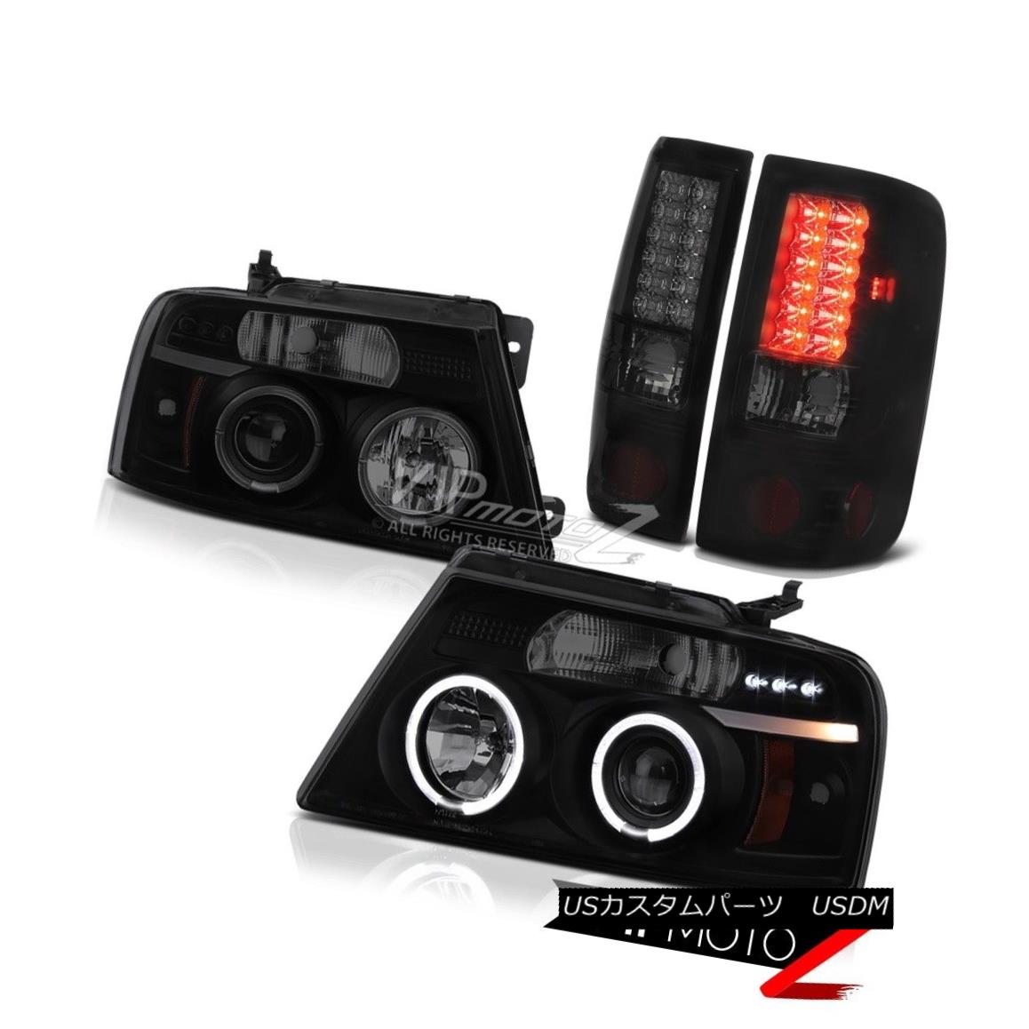 テールライト 2004-08 Ford F150 [Sinister Black] Projector Headlight Halo LED Rear Tail Lights 2004-08 Ford F150 [Sinister Black]プロジェクターヘッドライトHalo LEDリアテールライト