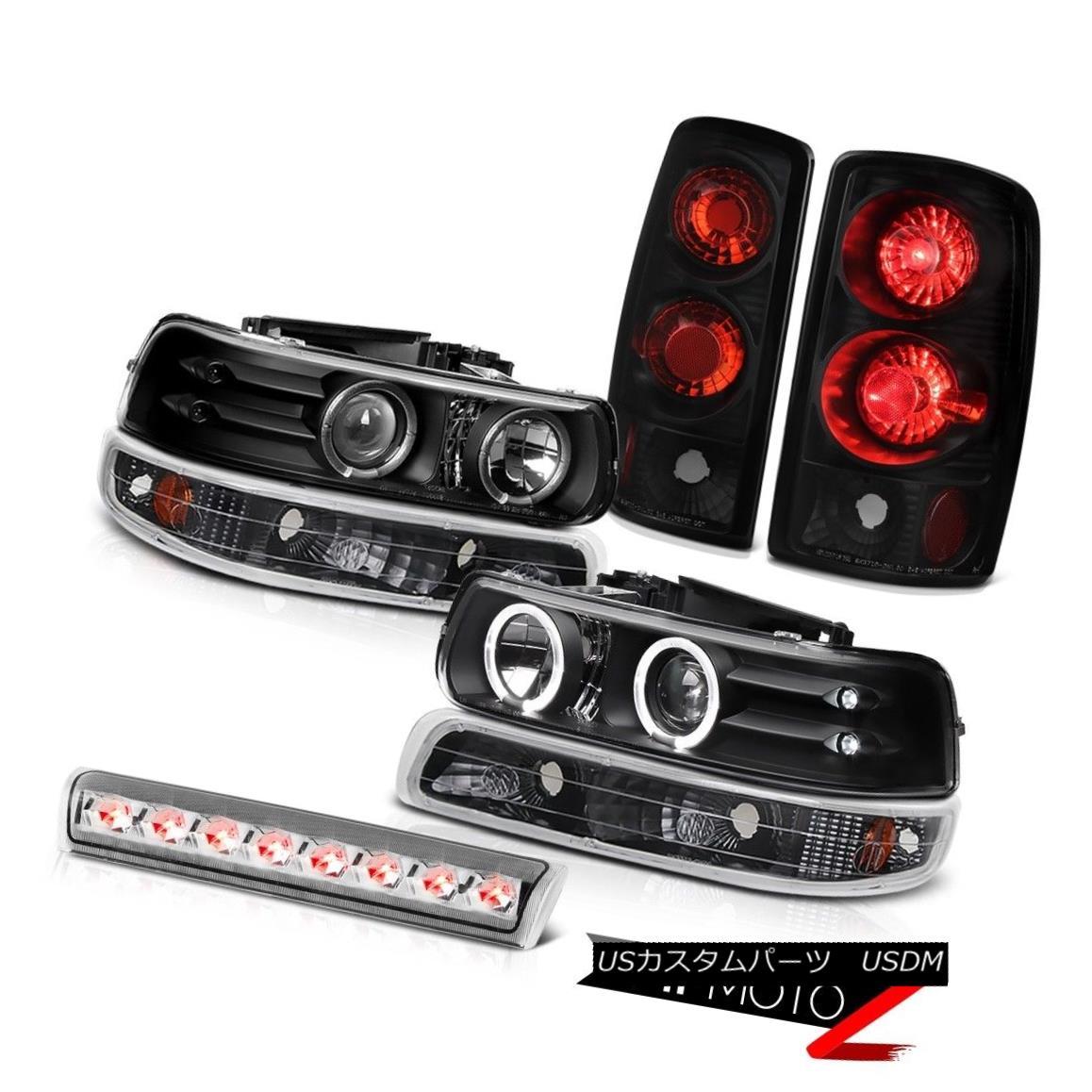 テールライト Halo Headlight Bumper Rear Black Taillamps Euro Third Brake LED 00-06 Tahoe 5.3L ヘイローヘッドライトバンパーリアブラックタイランプユーロサードブレーキLED 00-06タホー5.3L