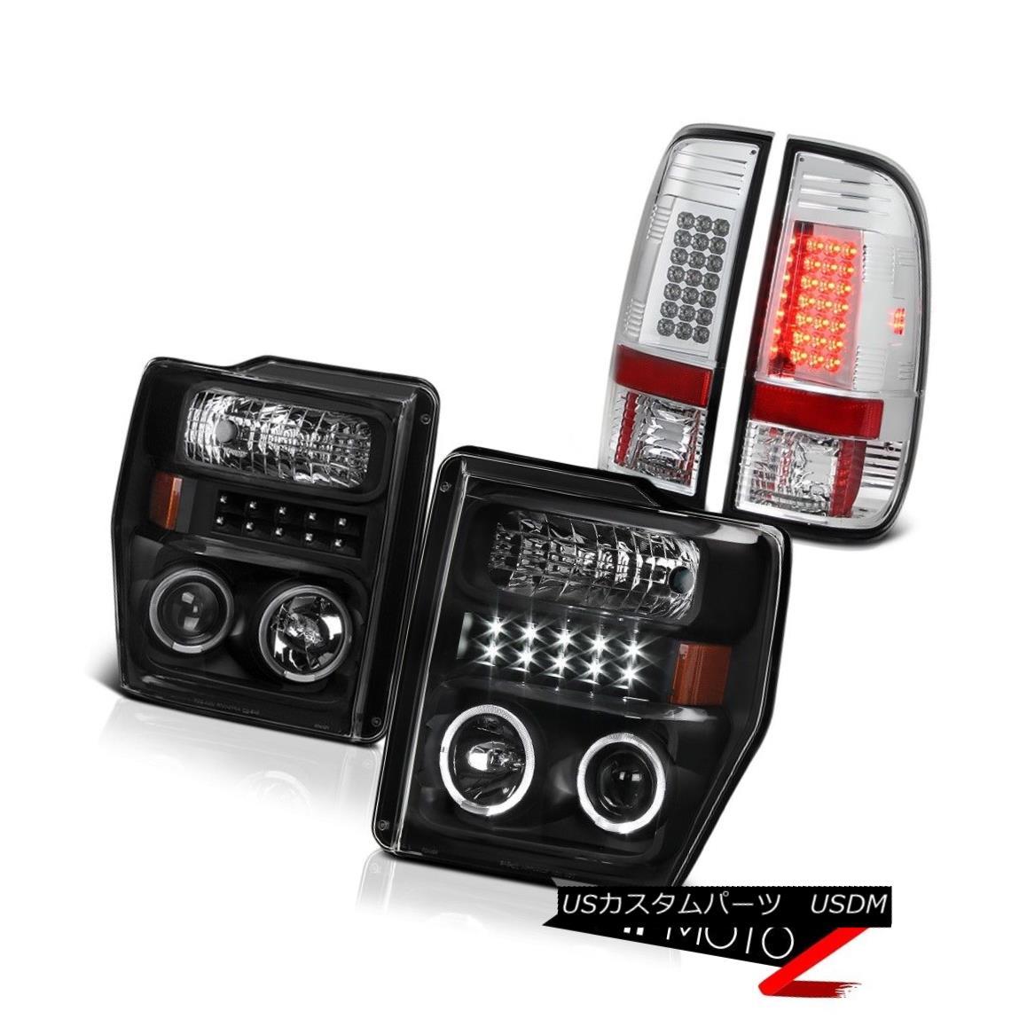 テールライト 2008-2010 Ford Superduty 6.8L King Ranch Angle Eye Headlights LED Tail Light Set 2008-2010フォードスーパーデューティ6.8LキングランチエンジェルアイヘッドライトLEDテールライトセット