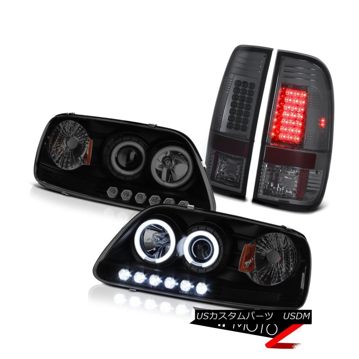 テールライト F150 SVT 97-03 Fluorescence Angel Eye Headlights Headlamp Smoked LED Tail Lights F150 SVT 97-03蛍光天使のアイヘッドライトヘッドランプスモークLEDテールライト