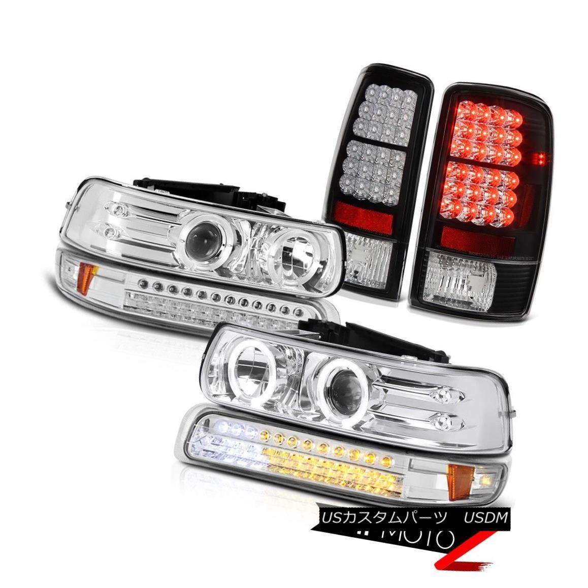 テールライト Projector Headlights Halo LED Turn Matte Black Tail Lights 2000-2006 Suburban LT プロジェクターヘッドライトHalo LEDターンマットブラックテールライト2000-2006郊外LT