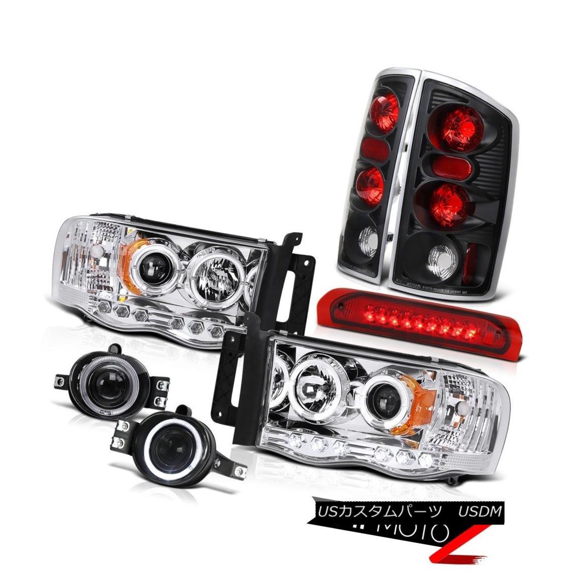 テールライト Dodge RAM 02-05 Halo Projector Headlight+LED 3rd Brake/Tail Lamp+Fog Lamp COMBO ドッジRAM 02-05ハロープロジェクターヘッドライト+ LED第3ブレーキ/テールランプ+フォグランプCOMBO