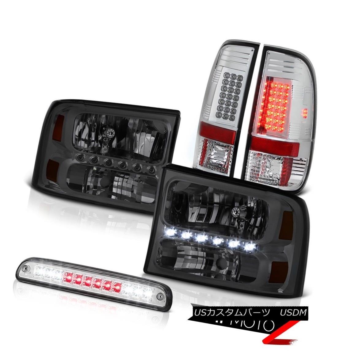テールライト Smoke Headlights Roof Stop LED Clear Taillamp Chrome 99 00 01 02 03 04 F350 XL スモークヘッドライトルーフストップLEDクリアテアランプクローム99 00 01 02 03 04 F350 XL