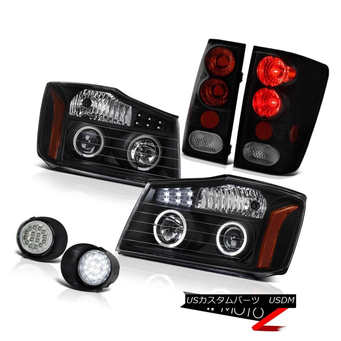 テールライト For 04-15 Titan SL 2x Halo Headlights Tail Lights Sinister Black LED SMD DRL Fog 04-15タイタンSL 2xハローヘッドライトテールライトSinister Black LED SMD DRLフォグ