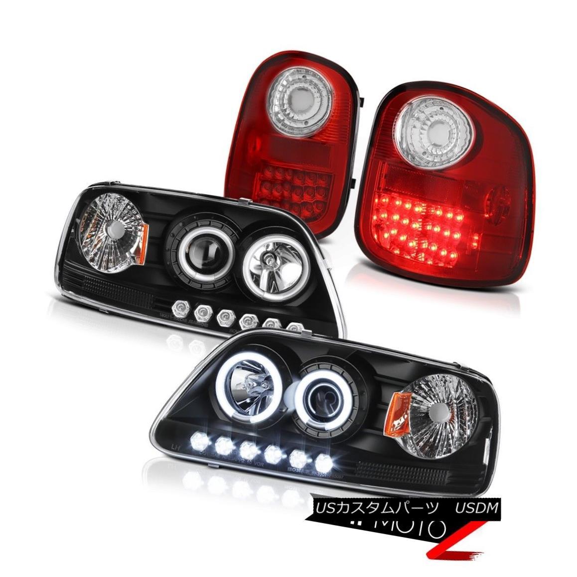 テールライト CCFL Halo Headlights LED Taillights Red 1997-2003 Ford F150 Flareside Hertiage CCFL HaloヘッドライトLEDテールライトレッド1997-2003 Ford F150 Flareside Heritage