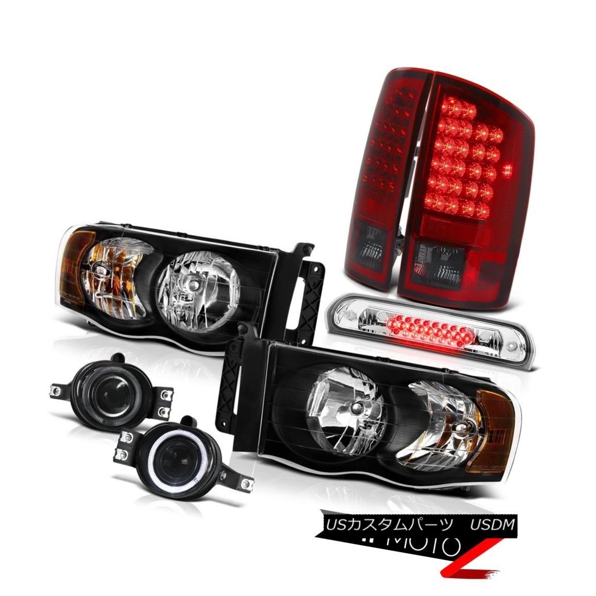 テールライト 02-05 Ram V6 Black Headlights Smokey Red Tail Lights Bumper Fog Roof Brake LED 02-05 Ram V6ブラックヘッドライトスモーキーレッドテールライトバンパーフォグルーフブレーキLED