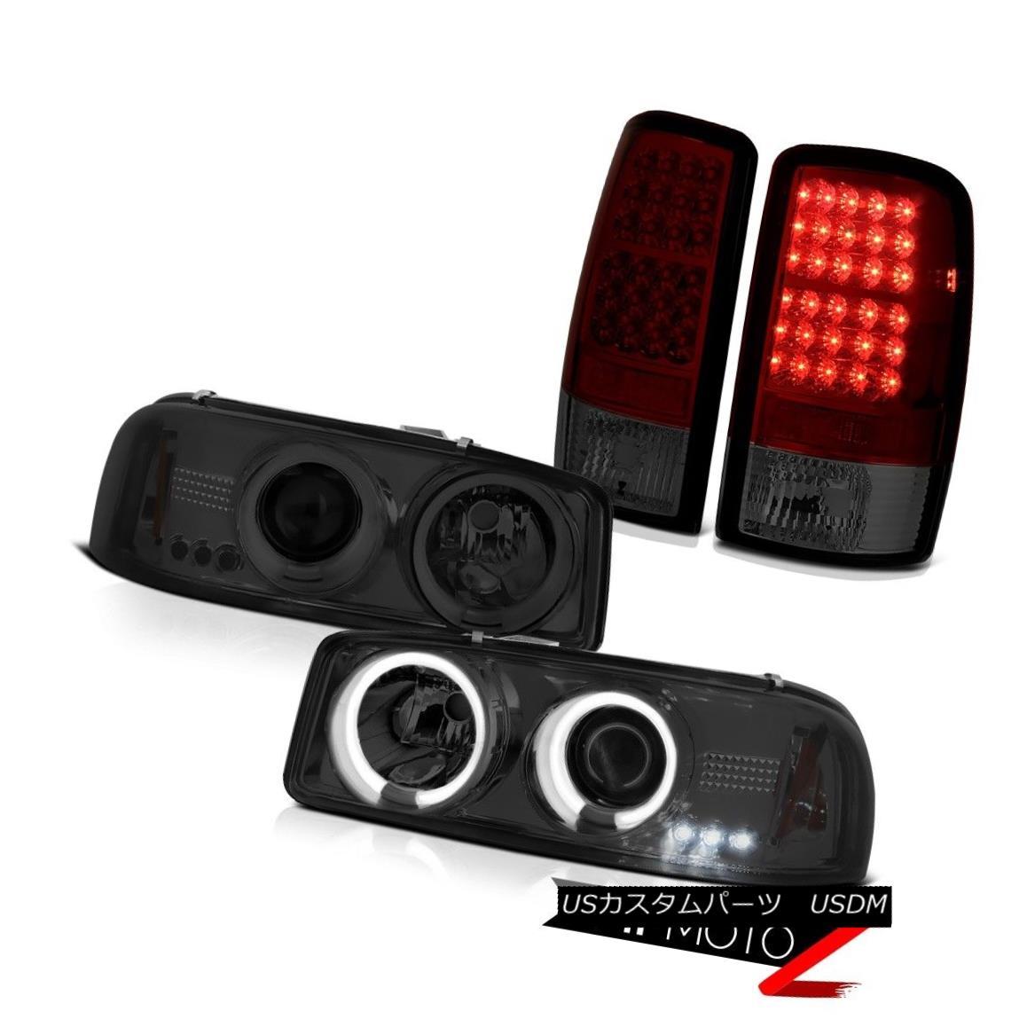 テールライト 00 01 02 03 04 05 06 Yukon Denali Dual CCFL Halo Headlamp Wine Red LED Tail Lamp 00 01 02 03 04 05 06ユーコンデナリデュアルCCFLハローヘッドランプワインレッドLEDテールランプ