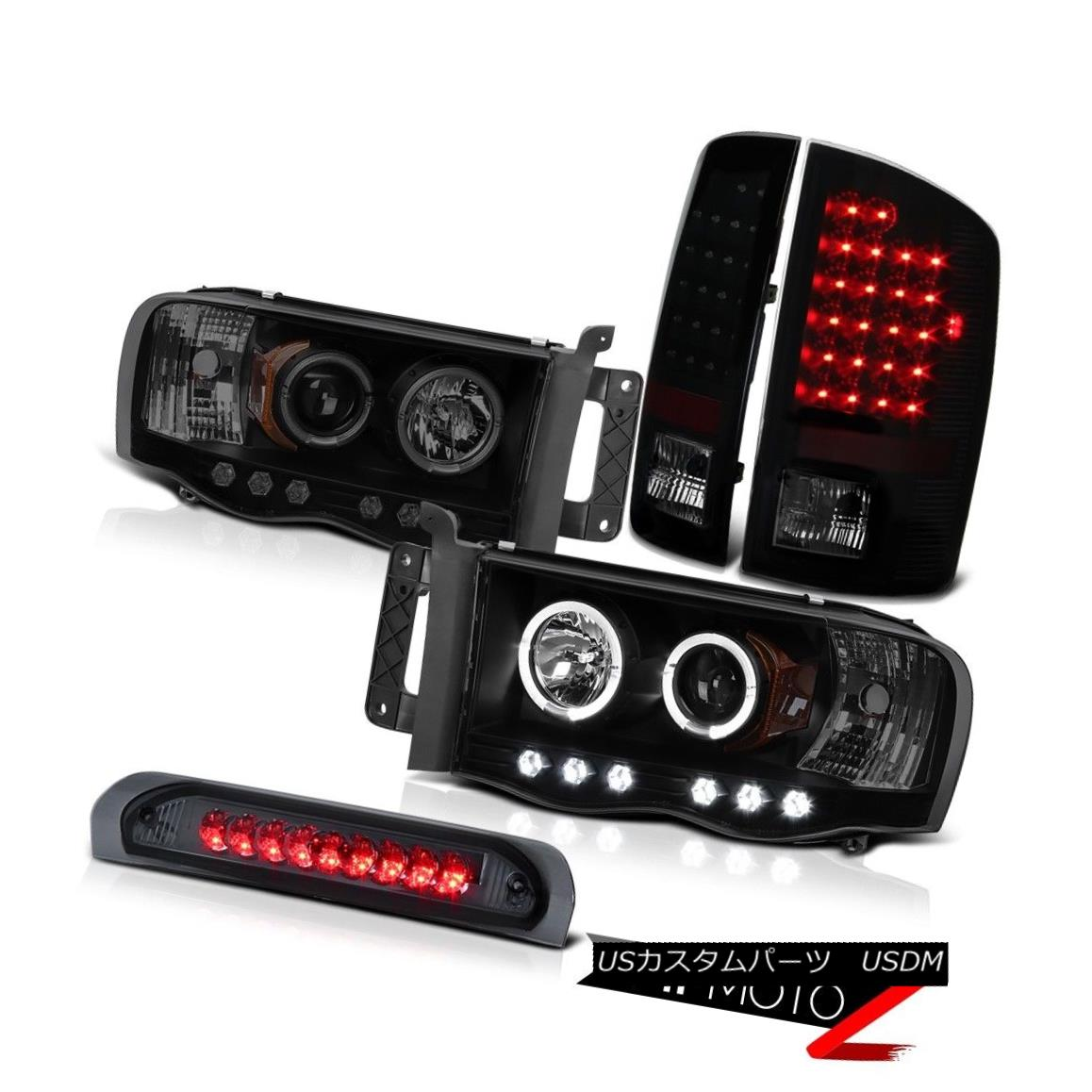 テールライト 02-05 Ram PowerTech 4.7L Laramie Black Smoke Halo Headlight LED Tail Lights Lamp 02-05ラムパワーテック4.7LララミーブラックスモークヘイローヘッドライトLEDテールライトランプ