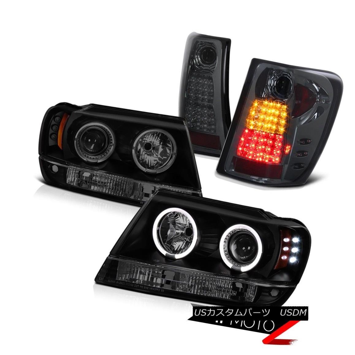 テールライト Grand Cherokee 99-04 WG Sinister Black LED Halo Headlight Smoke Rear Brake Lamp グランドチェロキー99-04 WGシニスターブラックLEDハローヘッドライトスモークリアブレーキランプ