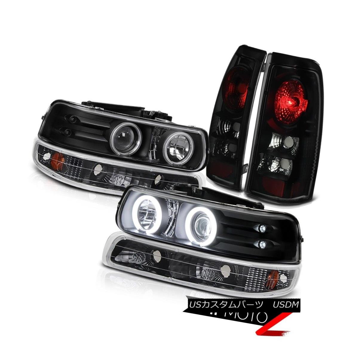 テールライト HIGHEST QUALITY Black+Smoke CCFL Halo Projector Headlight Rear Brake Light Chevy 最高品質ブラック+煙CCFLハロープロジェクターヘッドライトリアブレーキライトシェビー