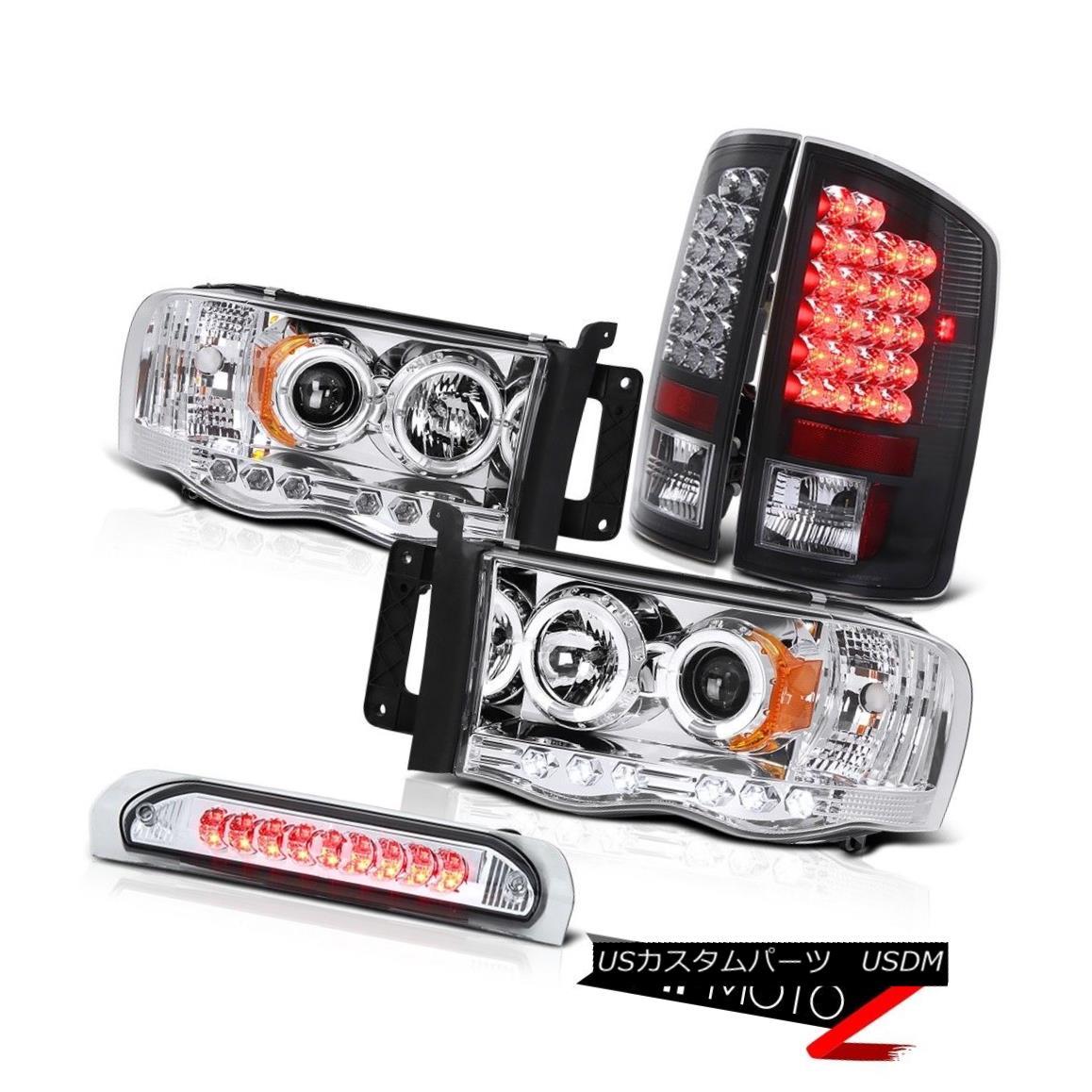 テールライト Black LED Rear Third Brake Lamp Angel Eye Projector Headlight Dodge Ram LH+RH ブラックLEDリア第3ブレーキランプエンジェルアイプロジェクターヘッドライトダッジラムLH + RH