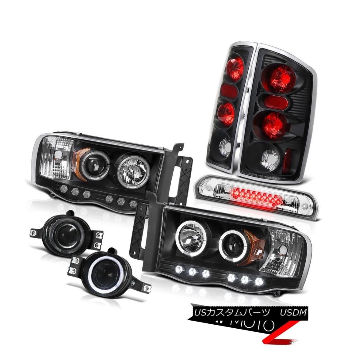 テールライト 2002-2005 Ram 2x Angel Eye Headlights Black Taillights Fog Third Brake Cargo LED 2002-2005 Ram 2x Angel EyeヘッドライトブラックテールライトフォグThirdブレーキカーゴLED