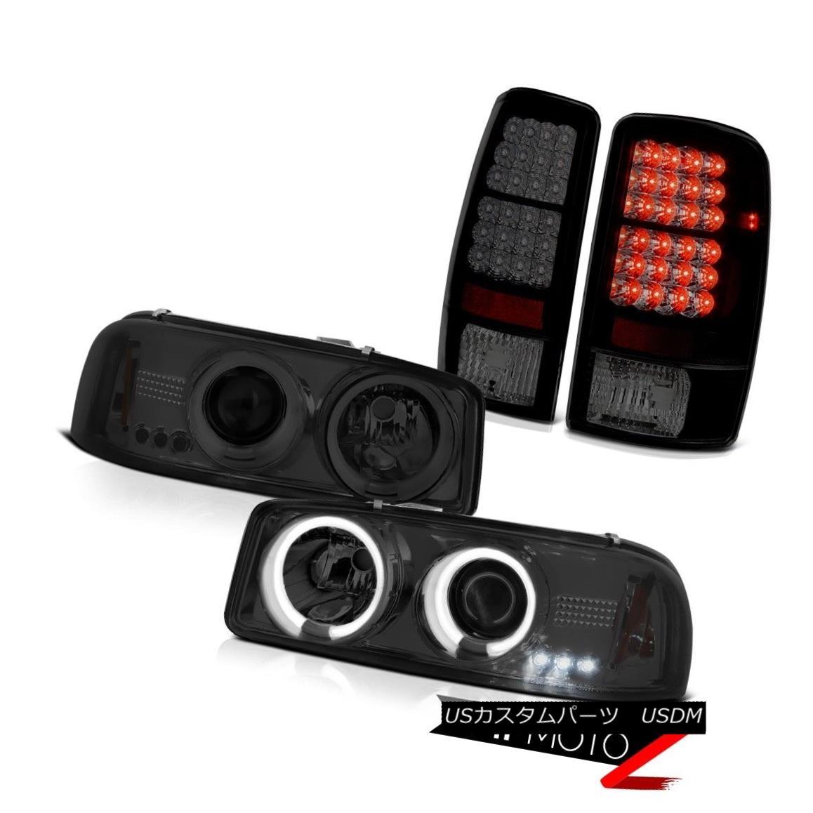 テールライト 2000-2006 Yukon Bright CCFL Halo Headlights Dark Smoke Black SMD LED Tail Lights 2000-2006ユーコンブライトCCFLハローヘッドライトダークスモークブラックSMD LEDテールライト