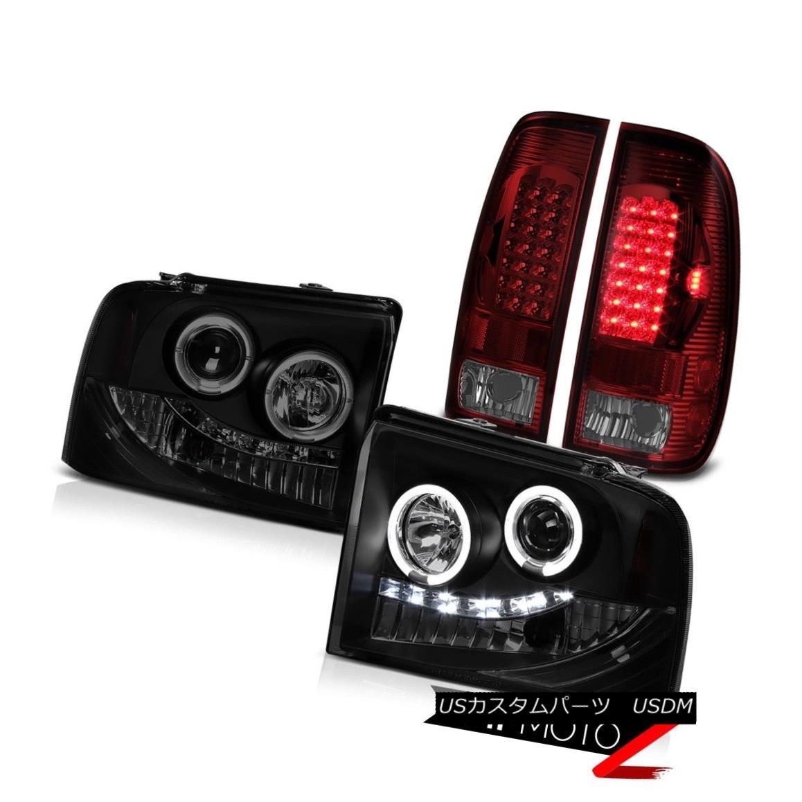 テールライト Dual Halo Headlight Smoke Rear Tail Light LED Ford F250 TurboDiesel Lariat 05-07 デュアルヘイローヘッドライトスモークリアテールライトLEDフォードF250ターボディーゼルラリアート05-07