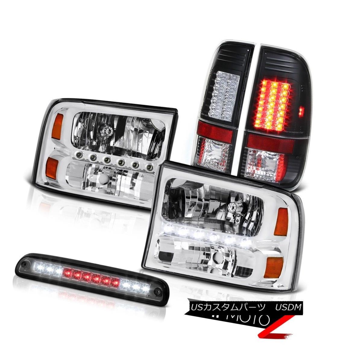テールライト Chrome Headlights Roof Stop LED Black Tail Light 99 00 01 02 03 04 F250 Lariat クロームヘッドライトルーフストップLEDブラックテールライト99 00 01 02 03 04 F250ラリアート