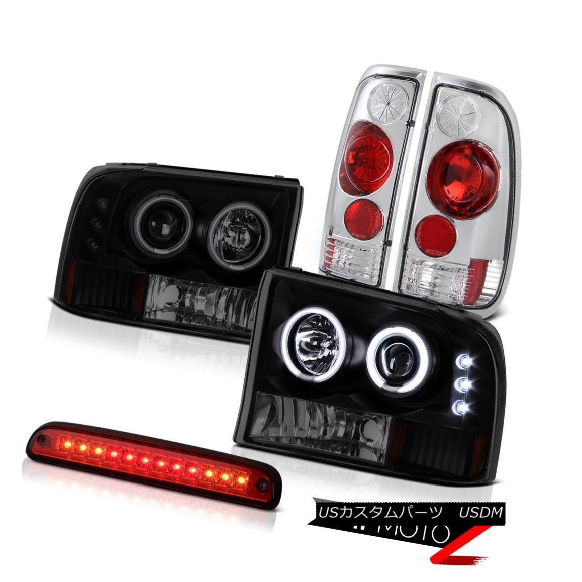 テールライト Angel Eye Headlights 3rd Brake Red LED Clear Tail Light 1999-2004 Ford F350 SD エンジェルアイヘッドライト第3ブレーキ赤LEDクリアテールライト1999-2004 Ford F350 SD