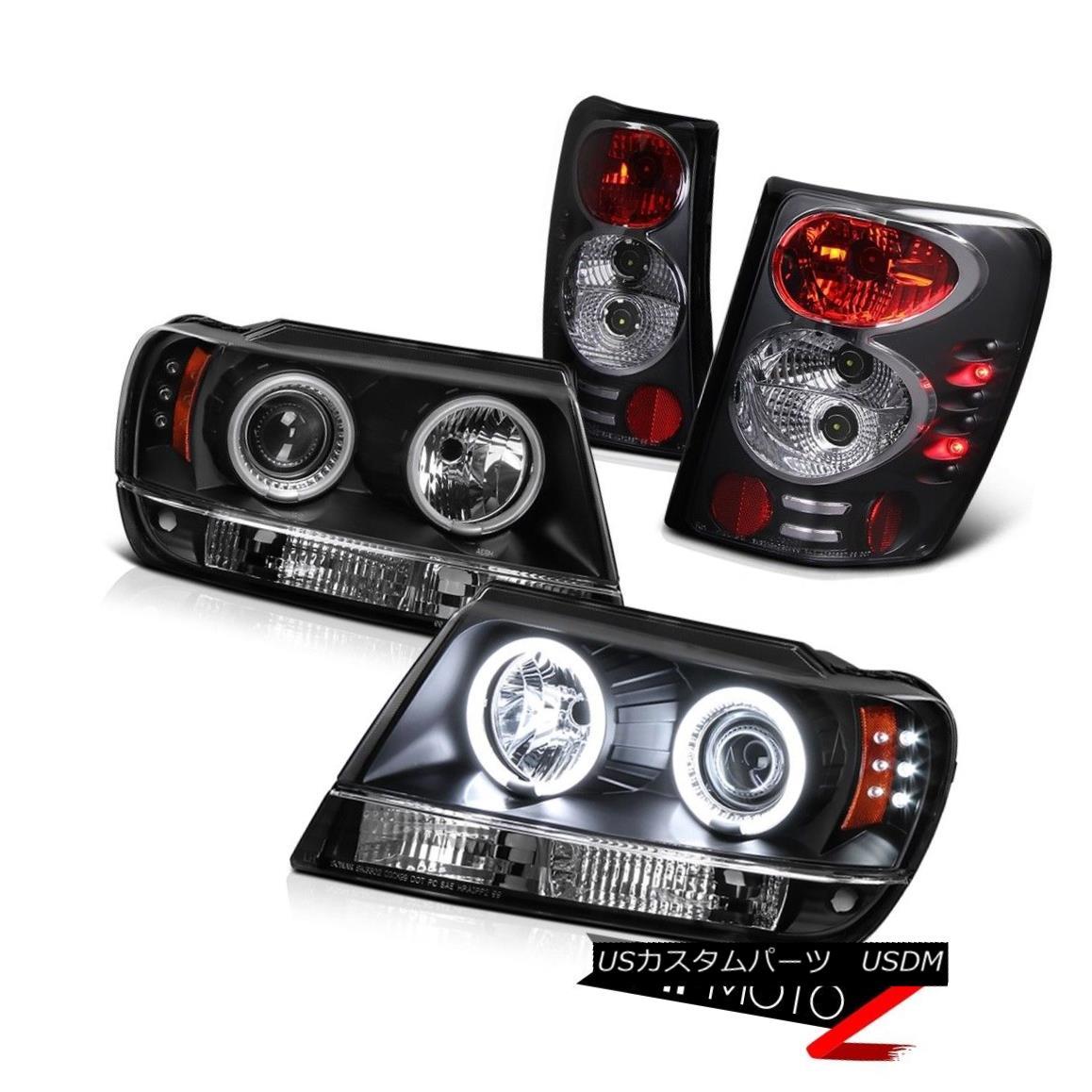 テールライト L+R CCFL Halo Projector LED Black Headlight+Tail Lamp 99-03 Jeep Grad Cherokee L + R CCFLハロープロジェクターLEDブラックヘッドライト+テールランプ99-03ジープグランドチェロキー