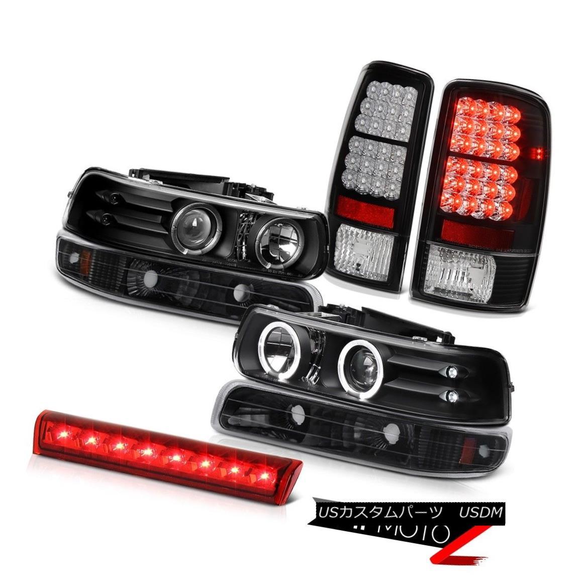テールライト Black Headlights SMD Halo L.E.D Rear Tail Lights LED 2000-2006 Suburban 6.0L ブラックヘッドライトSMD Halo L.E.DリアテールライトLED 2000-2006郊外6.0L