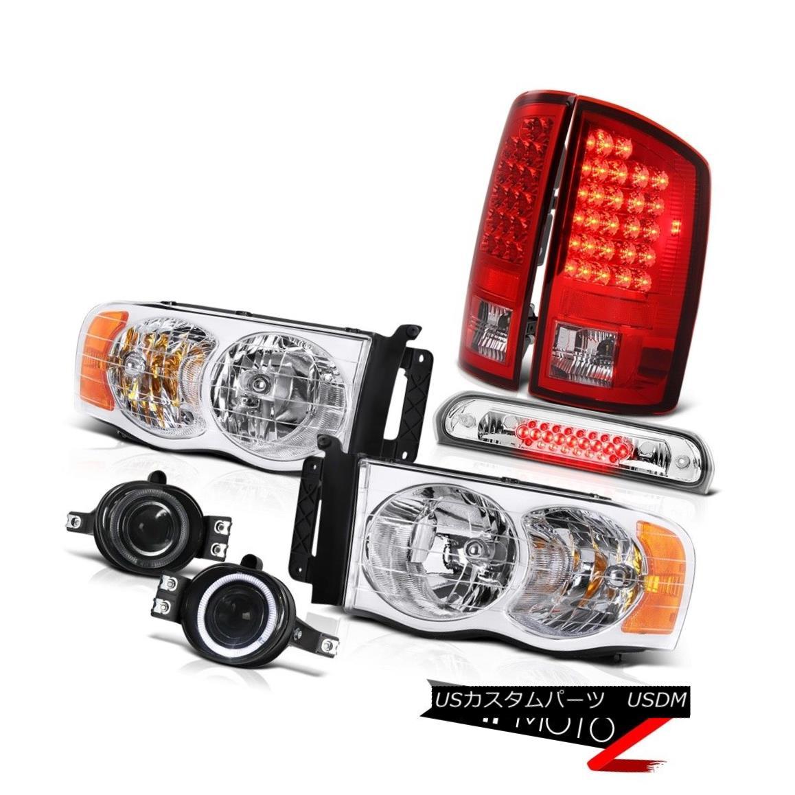テールライト 02-05 Ram Hemi Crystal Clear Headlights LED Tail Lights Red Bumper Fog Roof Stop 02-05 Ram HemiクリスタルクリアヘッドライトLEDテールライトレッドバンパーフォグ屋根停止