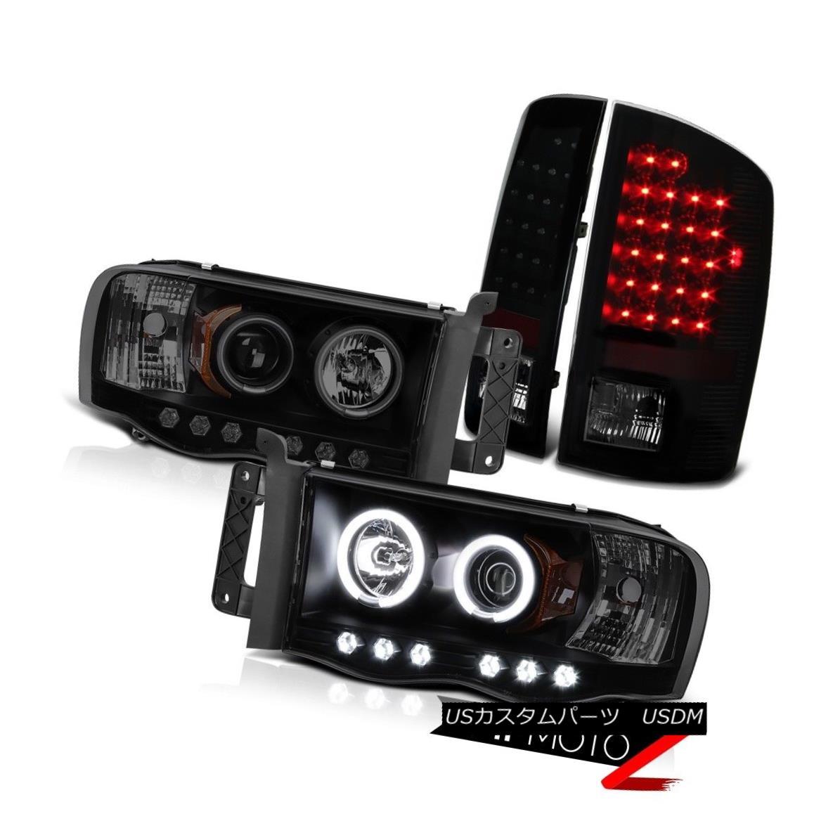 テールライト 2002-2005 Dodge Ram 6.7L SLT Smoke CCFL Halo Headlight Black LED Taillight 2002-2005ドッジ・ラム6.7L SLTスモークCCFLハローヘッドライトブラックLEDテールライト