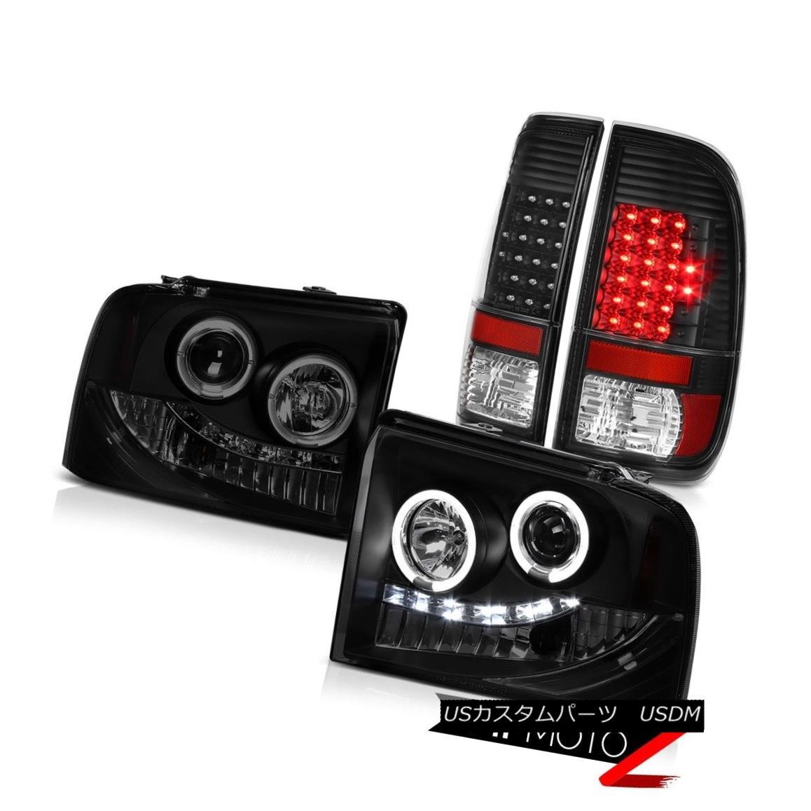 テールライト L.E.D Projector DRL Headlights Black LED Tail Lights 2005 2006 2007 Ford F350 L.E.DプロジェクターDRLヘッドライトブラックLEDテールライト2005 2006 2007 Ford F350