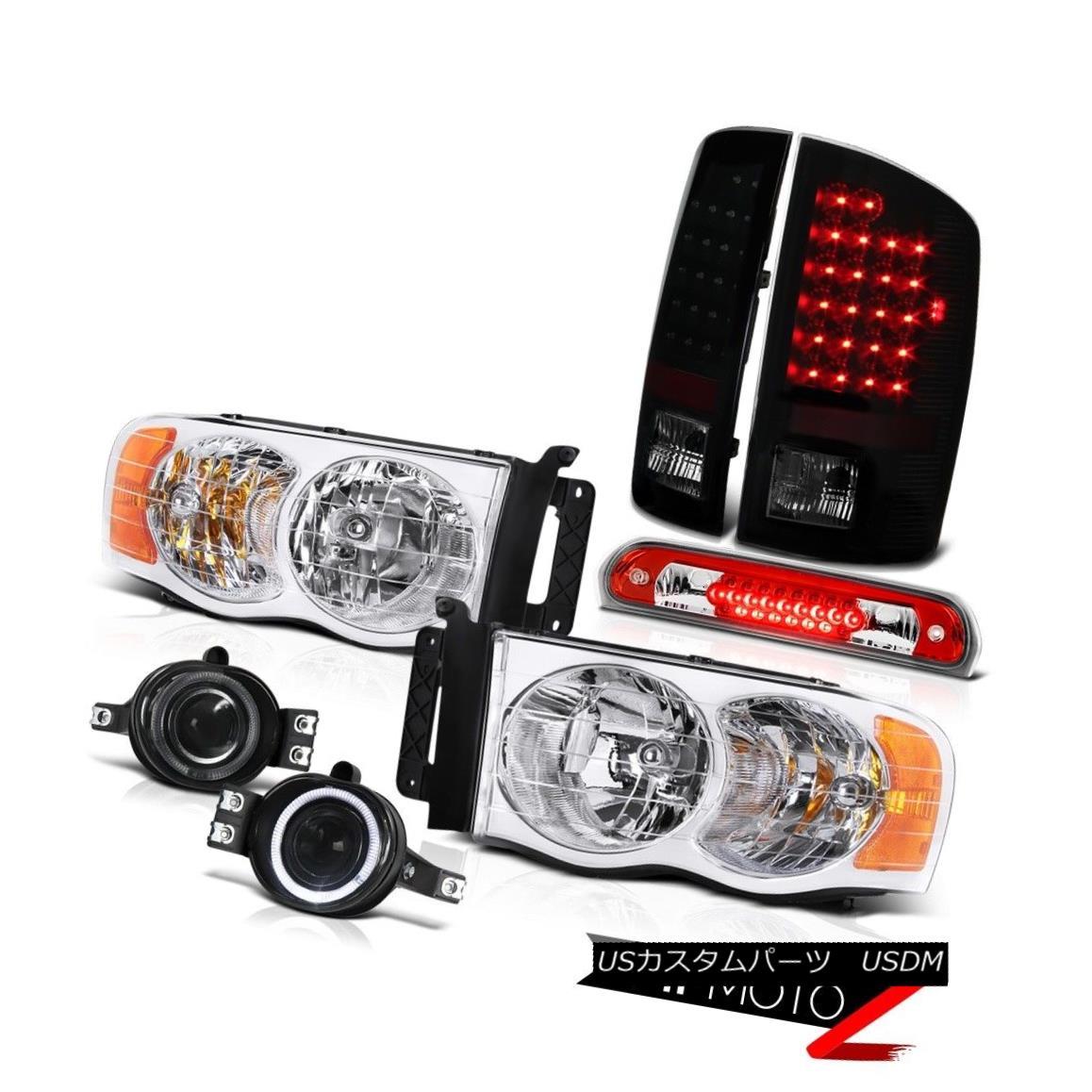 テールライト 02-05 Ram 1500 Pair Headlight Sinister Black LED Tail Light Bumper Fog High Stop 02-05ラム1500ペアヘッドライトシニスターブラックLEDテールライトバンパーフォグハイストップ