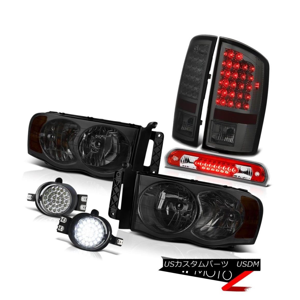 テールライト 2002-2005 Ram V8 PAIR Smoke Headlights Tail Lights LED DRL Fog Kit 3rd Brake Red 2002-2005 Ram V8 PAIRスモークヘッドライトテールライトLED DRLフォグキット第3ブレーキレッド