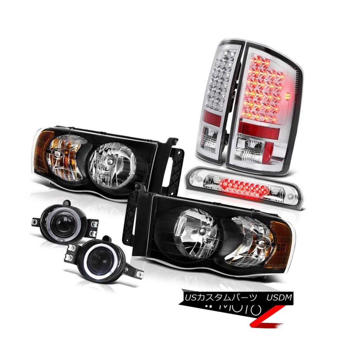 テールライト 02-05 Ram V8 Black Headlights SMD Rear Tail Lights Projector Foglights 3rd LED 02-05 Ram V8ブラックヘッドライトとリアテールライトプロジェクターフォグライト第3 LED