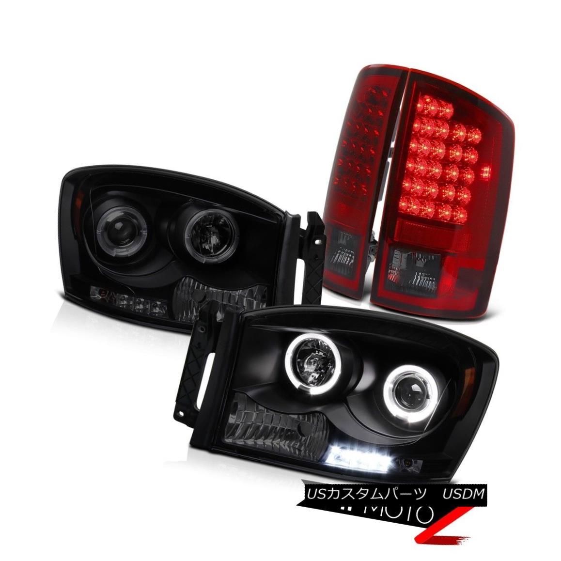 テールライト 2006 Dodge Ram 5.7L Headlights Halo LED Projector Red Smoke Brake Signal Lamps 2006 Dodge Ram 5.7LヘッドライトHalo LEDプロジェクター赤色スモークブレーキシグナルランプ