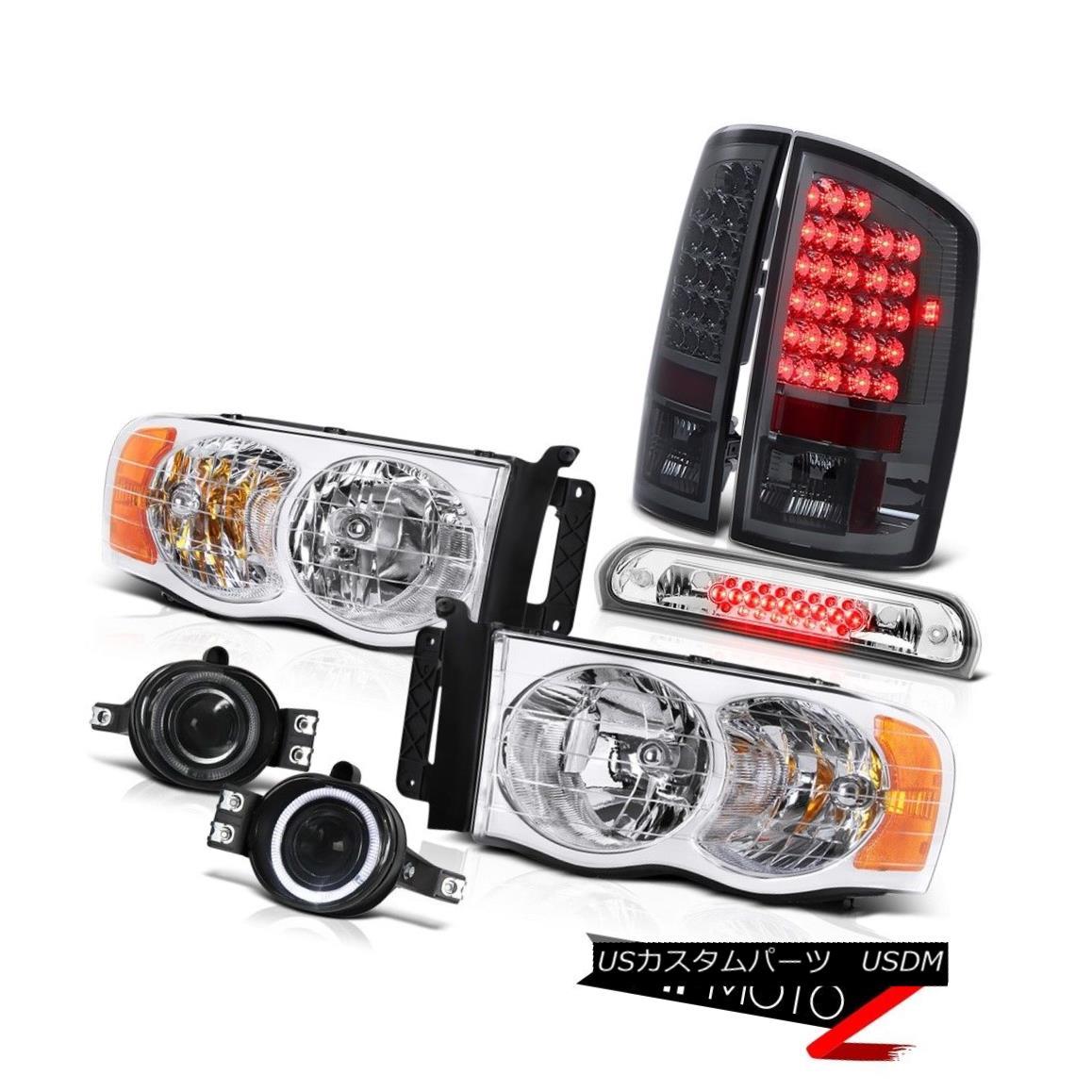 テールライト 2002-2005 Dodge Ram Factory Style Headlights Smoke LED Tail Lights Fog High Stop 2002-2005ダッジ・ラム・ファクトリー・ヘッドライトスモークLEDテールライトフォグハイストップ