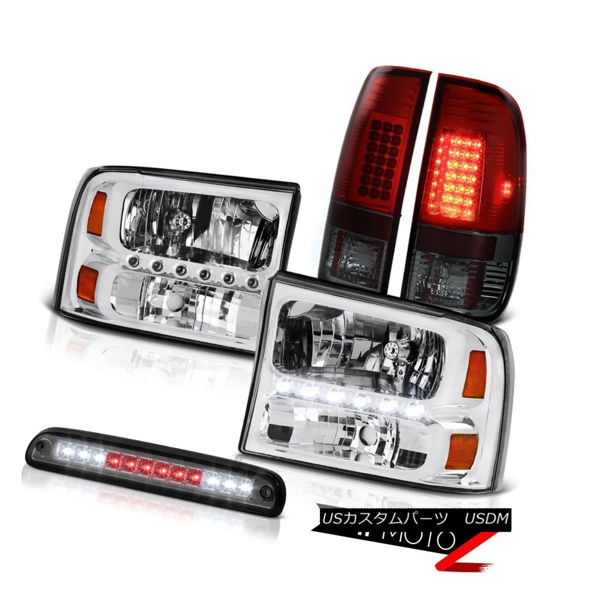 テールライト Pair Clear Headlights High Stop LED Smoke Wine Tail Light 99-04 F250 King Ranch 対クリアヘッドライトハイストップLEDスモークワインテールライト99-04 F250キングランチ