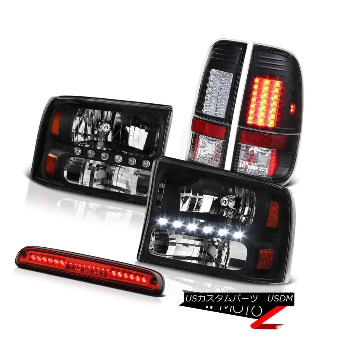 テールライト L+R Black Headlight Tail Light Assembly LED Roof Brake Red 1999-2004 F250 Lariat L + RブラックヘッドライトテールライトアセンブリLED屋根ブレーキ赤1999-2004 F250 Lariat