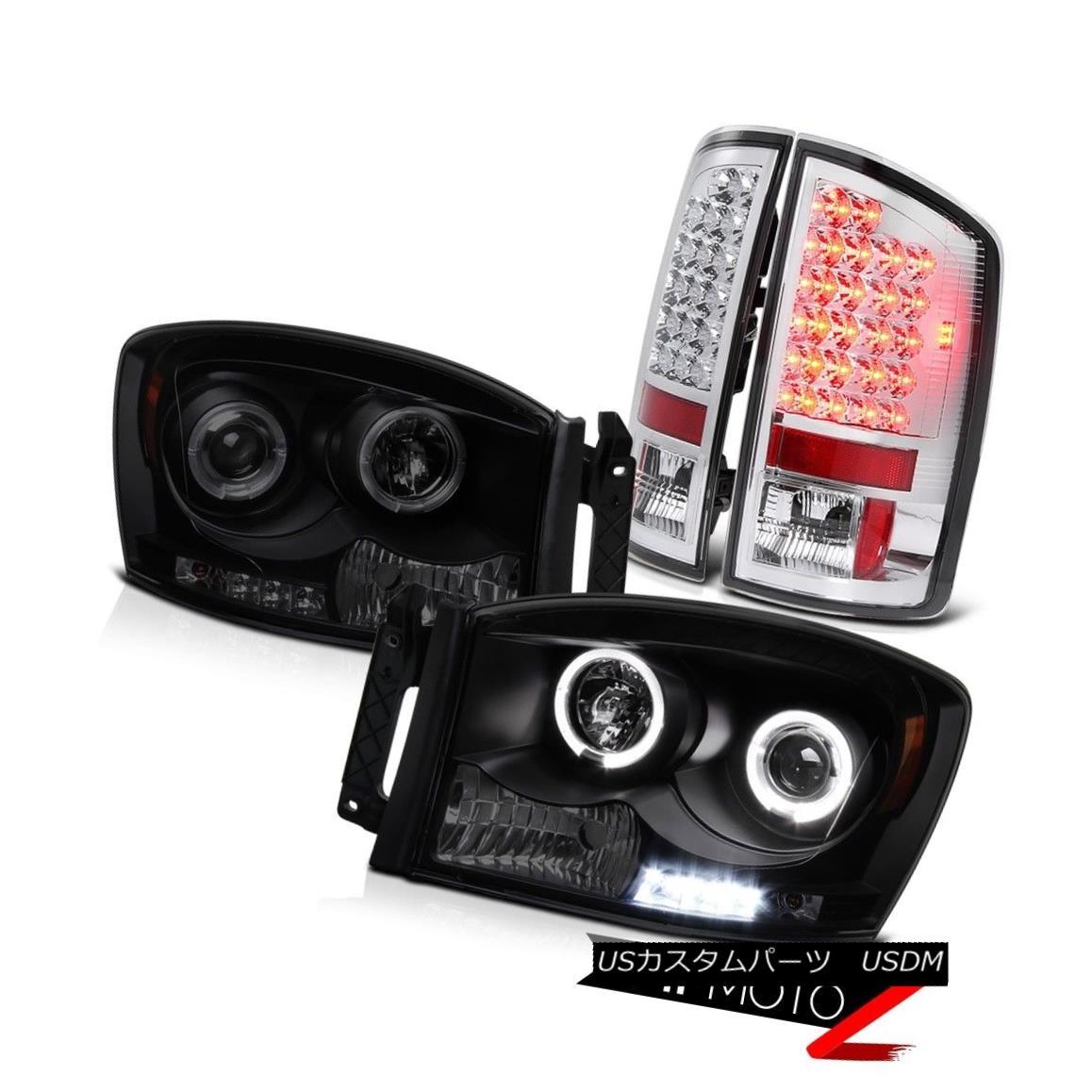 テールライト Euro Chrome LED Brake Tail Lights Sinister Black Halo LED Projector Headlights ユーロクロームLEDブレーキテールライト不快なブラックハローLEDプロジェクターヘッドライト